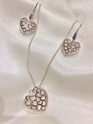 Rose Gold Plated Sterling Silver Heart Necklace And Earring Set